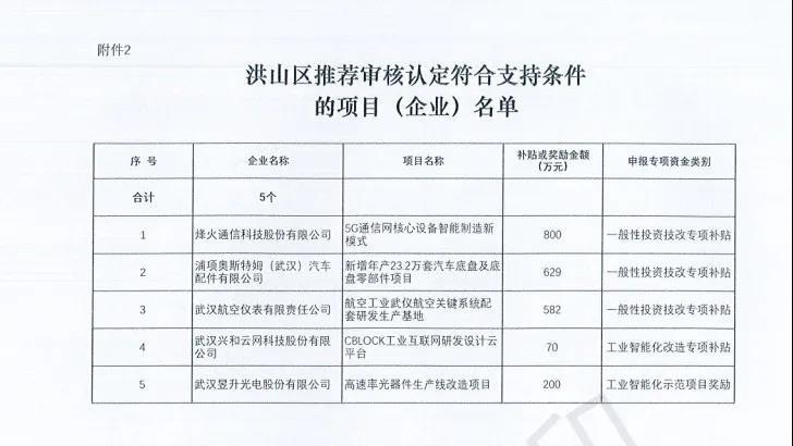洪山区关于2020年武汉工业智能化改造示范项目和2021年武汉市工业投资技改专项资金拟拨付的公示